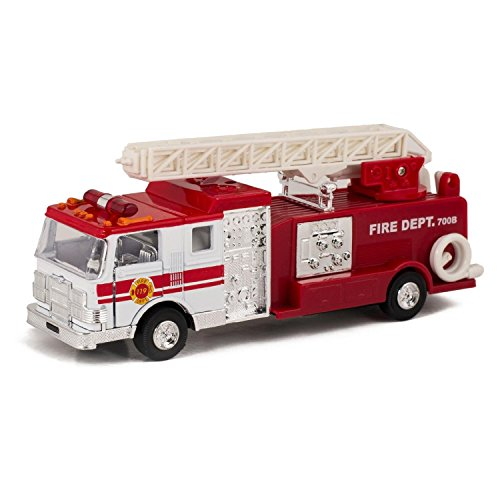 Red & White Fire Engine Truck with Ladder Children's Collectible Die-Cast Metal Toy with Pull-Back Action and Sound by Master - Childrens Engine Fire