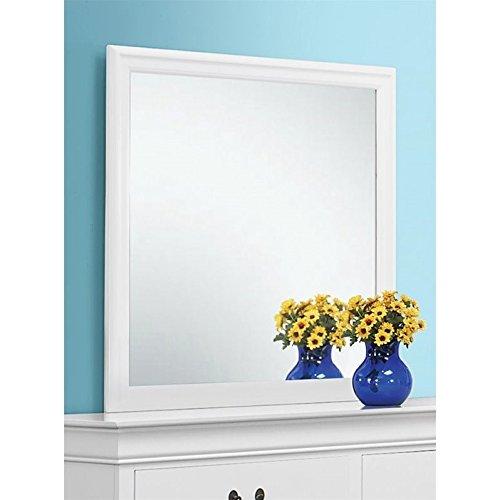 Coaster Home Furnishings Louis Phillipe Beveled Edge Square Mirror, White