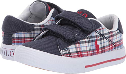 (Polo Ralph Lauren Kids Unisex Easten II EZ (Toddler) Navy/Multi Plaid/Canvas/Red Pony 9.5 M US Toddler)