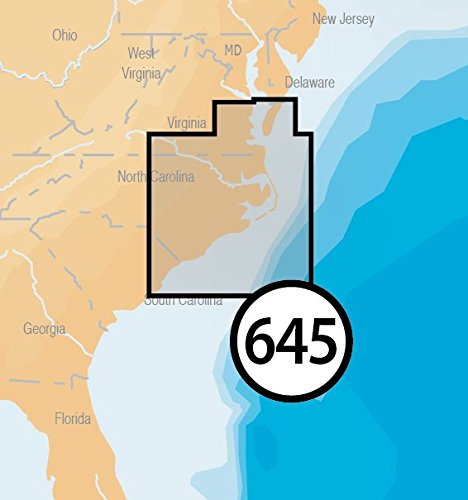 Navionics Platinum Plus 645P+ North Carolina Marine Charts on SD/MSD