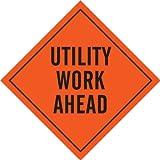 Brady 57033 Mesh Roll-Up Signs, 48'' X 48'', Legend ''Utility Work Ahead''