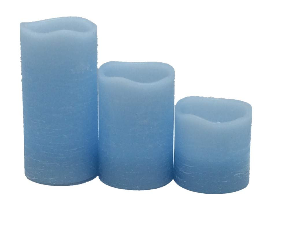 Pillar Light Blue Rustic Wax Led Candles With Melt Edge2 By Tall 2 Candle Flicker Circuit 234inch