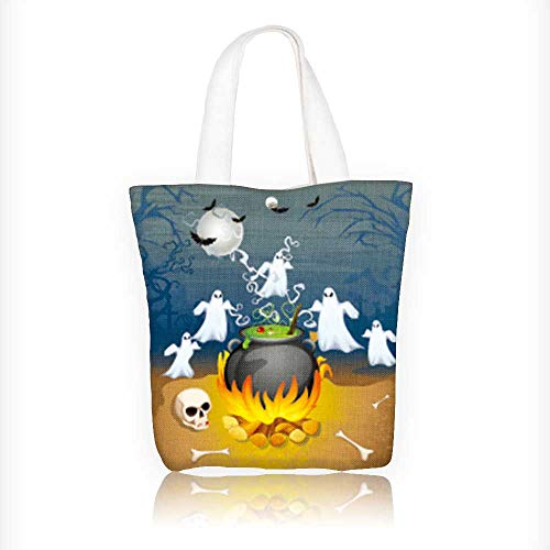 Reusable Cotton Canvas Zipper bag of ghost from cauldron in Halloween Background Tote Laptop Beach Handbags W11xH11xD3 -