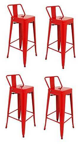 La Silla Espanola - Pack 4 Taburetes estilo Tolix con respaldo. Color Rojo. Medidas 95x44,5x44,5
