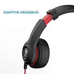 Darkiron N8 Headset with In line Mic and Volume Control for Smartphones & Tablets - Black / Red