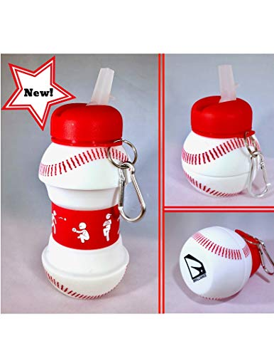 BRIILLIANCE Collapsible Baseball Water Bottle Jug Leak Proof