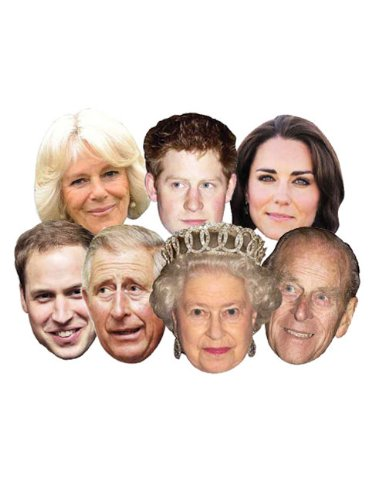 (Star Cutouts SMP1 Queen/Phillip/William/Harry/Kate/Charles/Camilla Royal Family Assorted Mask, One)