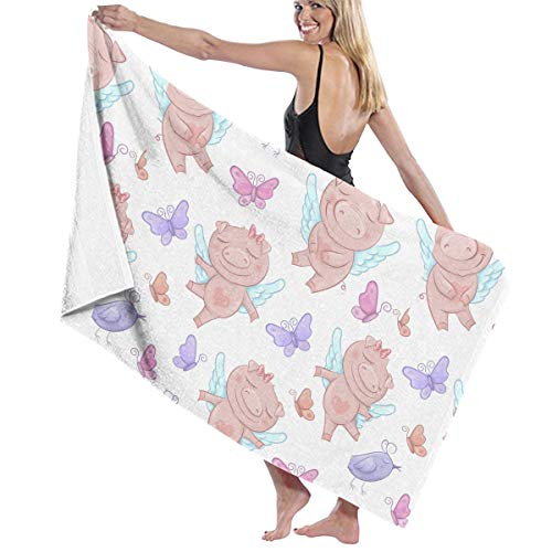 SARA NELL Microfiber Beach Towel Cute Pigs Angels in Cartoon Style Funny Bath Towel Beach Blanket Quick Dry Towel for Travel Swim Pool Yoga Camping Gym Sport -30