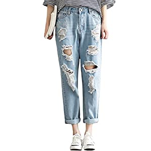 SUGIRLS Women's Casual Loose Distressed Ripped Hole Harem Jeans Denim Cropped Pants