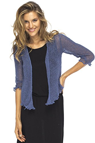 Taylor Ann Cardigan - Back From Bali Womens Lightweight Knit Cardigan Shrug Lite Sheer Blue Jean