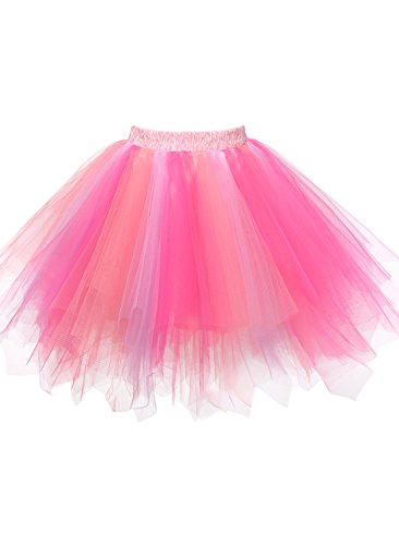 Emondora Women's Tutu Tulle Petticoat Ballet Bubble Skirts Short Prom Dress Up HotPink/Pink Size (Fancy Dress Xxxl)