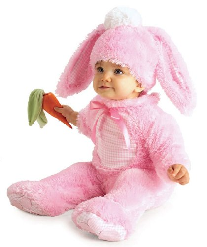 Pink Bunny Costume with Carrot Rattle - Rubies (0-6 month) - Baby Animals In Costumes