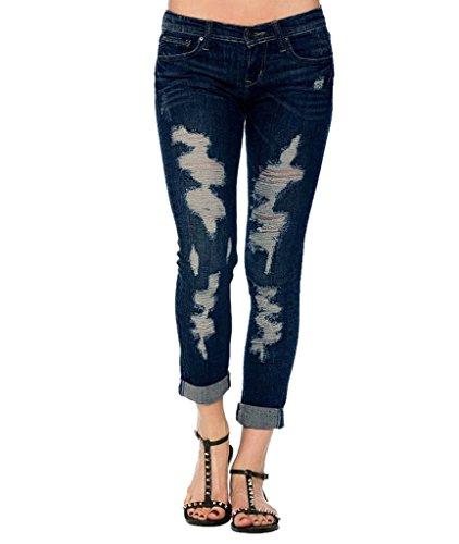 Lavano colore Il Nove Pantaloni Dimensioni Blu Mena Grandi Vita Che M Di Donne Foro Uk Scuro Jeans Cantieri In qZR6t