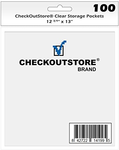 (100) CheckOutStore Clear Storage Pockets for Storing 12 x 12 Cardstock Paper used for Rubber Stamping & Scrapbooking (Clear - 12 3/4'' x 13'') by CheckOutStore