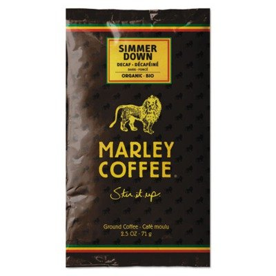 Marley Coffee 2967 Coffee Fractional Pack, Simmer Down Swiss Water Decaf, 18/Box