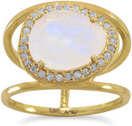 14K Gold Plated Sterling Halo Ring, 9.5x11.5mm Moonstone, .23 ctw Diamonds, 1/2 inch wide