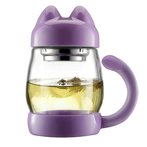 LifeCom 14oz Cute Cat Glass Tea Cup with a Lid & Strainer, Portable Heat Resistant Mugs Gift (Purple)