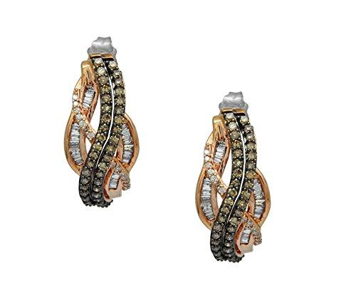 10k Rose Gold Brown and White Diamond 1 Cttw Diamond Earrings Hoops ()
