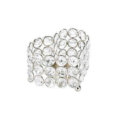 2 Crystal Shimmer Heart Candleholders Silver Metal Frame