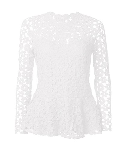 Longues Blouse Blanc Col Tees Unie Sexy Rond T Tops Couleur Fashion t Dentelle Shirts Manches Hauts Casual Femmes wnU8qB46R
