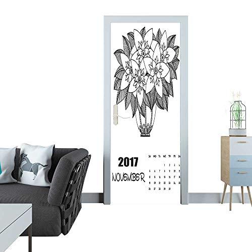 Anmaseven Glass Door Sticker Decals November 2017 Calendar Line Art Black and White Illustration Door Sticker Mural 27x59(69x150 cm)