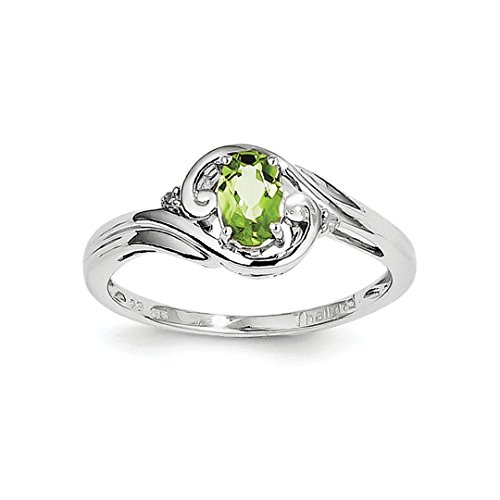 ICE CARATS 925 Sterling Silver Diamond Green Peridot Band Ring Size 6.00 Gemstone Fine Jewelry Ideal Gifts For Women Gift Set From Heart