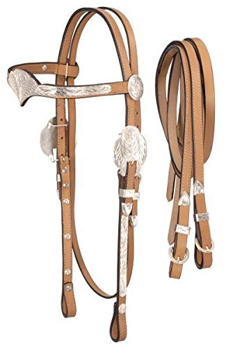 Royal King Silver V-Brow Headstall w/Reins Horse D