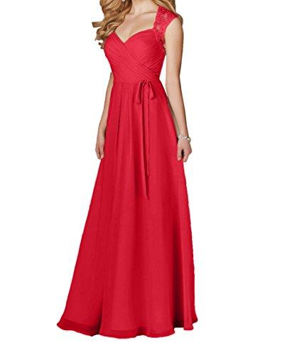 Chiffon Lang Anmutig Linie Spitze Marie Braut Partykleider La Blau Rot A Brautjungfernkleider Navy Abendkleider nxv4fXq