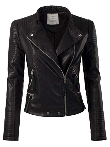 Jacket Motorcycle Ladies Black (Instar Mode Women's Fashion Motorcycle Quilted Faux Leather Jacket Black L)