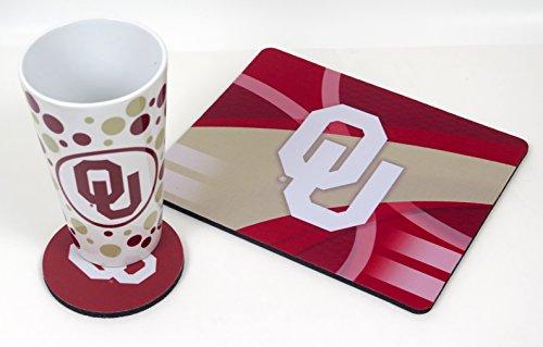 Oklahoma University Set. Includes Coffee Mug, Mouse pad, Coaster, 3 Pieces Set. (Coffee Mouse Pad Mug)