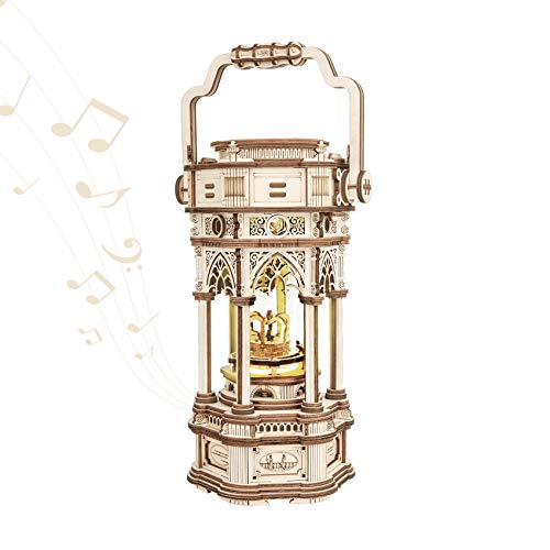 ROKR 3D Wooden Puzzles Rotatable Vintage Victorian Lantern Music Box Craft Model Kits for Adults and Teens to Build