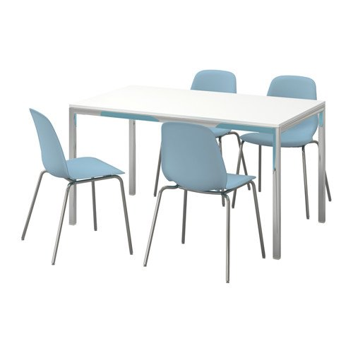 Ikea Table and 4 chairs, high gloss white, light blue 20204.20517.262