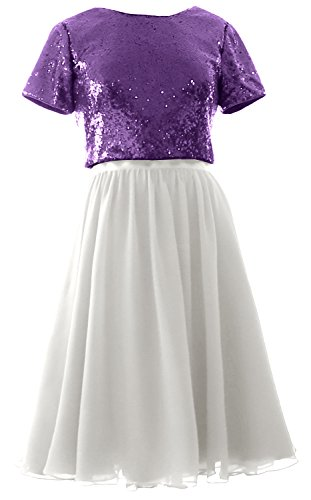 MACloth Cap Sleeves Two Piece Short Bridesmaid Dress Sequin Chiffon Formal Gown Purple-Ivory