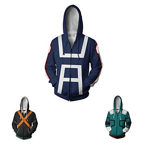 Boku No Hero Academia My Hero Academia Izuku Midoriya Hoodies Sweatshirt Cosplay Costume Training Suit Jacket (Blue, S)