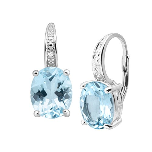 Blue Topaz With Diamond Earring - 4 7/8 ct Natural Swiss Blue Topaz Drop Earrings with Diamonds in Sterling Silver