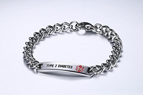 VNOX TYPE 2 DIABETES Bracelet Stainless Steel Medical Alert ID Bracelet for Unisex 8'' by VNOX (Image #4)