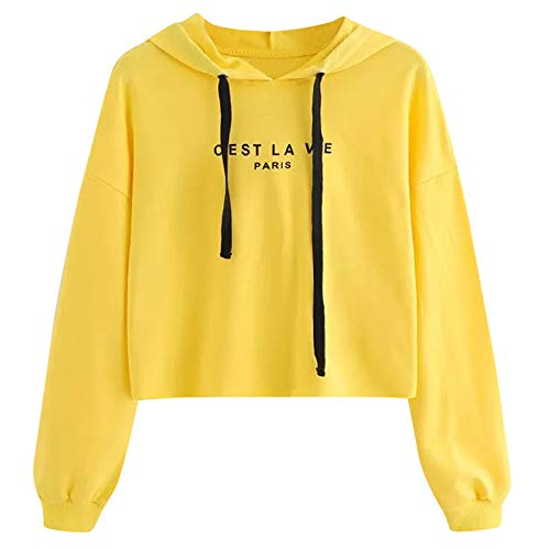 Amazon.com: Makeupstore Women Teen Girls Letters Hoodies Crop Top Long Sleeve Hooded Pullover Tops Blouse White Yellow: Clothing