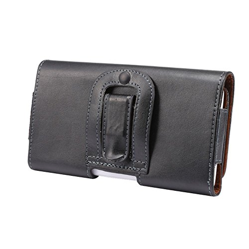 DFV mobile - Case Belt Clip Genuine Leather Horizontal Premium for =>      APPLE IPHONE 5C > Black
