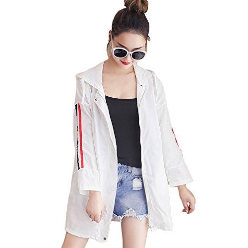 QFFL fangshaifu 夏ロングセクションルーズサンプロテクションウェア/女性ファッションフード付きコート/シン?ピュアカラー?ビーチ?ケープ/オフィス?エアコンディショナー?シャツ(3色展開) (色 : A, サイズ さいず : Xl xl)