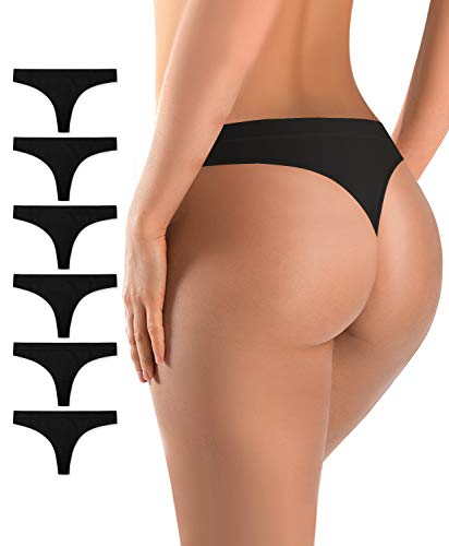 BUBBLELIME Seamless Bikini Panties for Women Low Rise Power Breathable Underwear No Show(6 Pack/3 Pack/1 Pack), (Set3) 6pack Black, Large (Best No Show Panties)