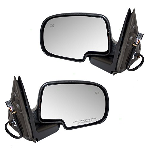Driver and Passenger Power Side View Mirrors Heated Chrome Caps Replacement for Cadillac Chevrolet GMC Pickup Truck 15179829 15179830 AutoAndArt