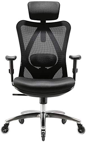 XUER Ergonomics Office Chair Mesh Computer Desk Chair,Adjustable Headrests Chair Backrest and Armrest s Mesh Chair Black