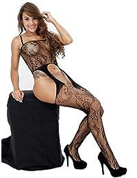 ZIUMUDY Womens Stretch Fishnet Bodystocking Open Crotch Bodysuit Tights Underwear