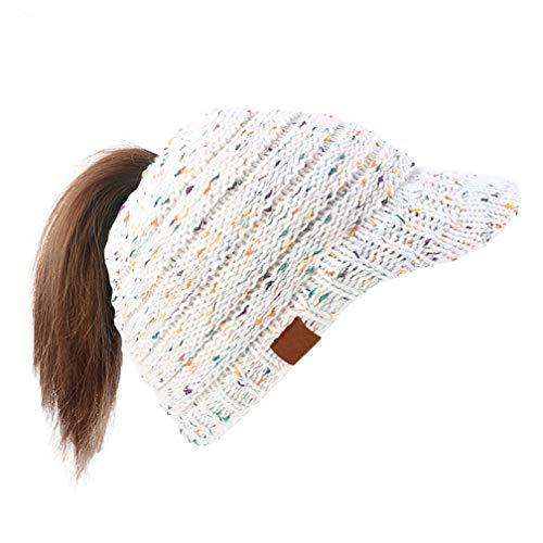 Visor Beanie White - Dukars Women's Warm Chunky Cable Knit Messy Bun Hat Ponytail Visor Beanie Cap (Confetti White)