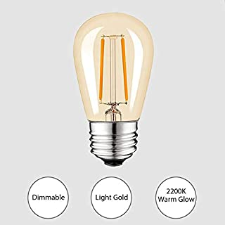 Keymit S14 LED Replacement Bulb, Dimmable 2W 2200K Light Gold Vintage LED Filament Bulb for Outdoor String Lights,Truly Warm Glow E26 Medium Base, Edison Vintage Ambience 15Pack