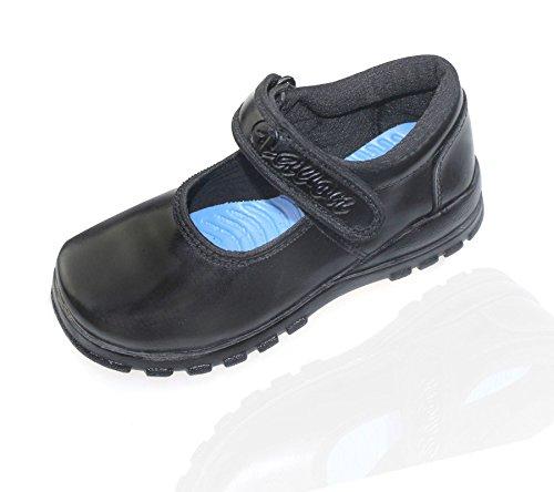 Schule Schwarz Mädchen Wohnungen Formale Casual kollache Schuhe Plain Klettverschluss Gurt FWvUn7Wq