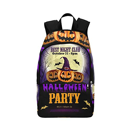 YSWPNA Halloween Party Flyer Pumpkins Casual Daypack Travel Bag College School Backpack for Mens and Women