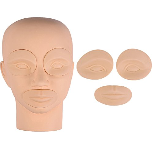 VideoPUP(TM) Permanent Makeup 3D Tattoo Practice Skin Mannequin Trainning Head supply with 2pcs Eyes + 1pcs Lip