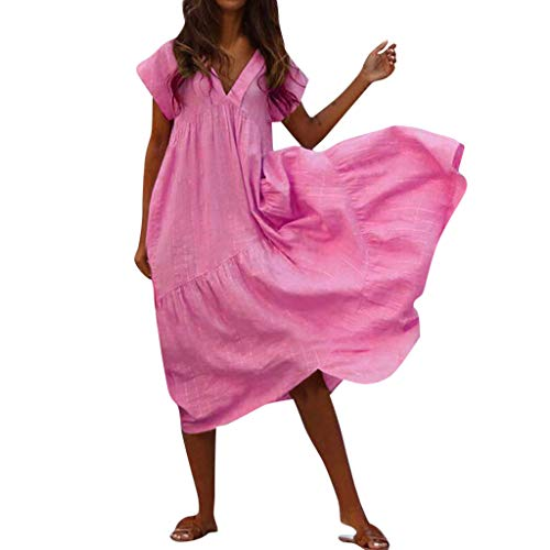 HYIRI Women's Solid Casual Cocktail Aline V Neck Short Sleeve Beach Maxi Dresses Hot -