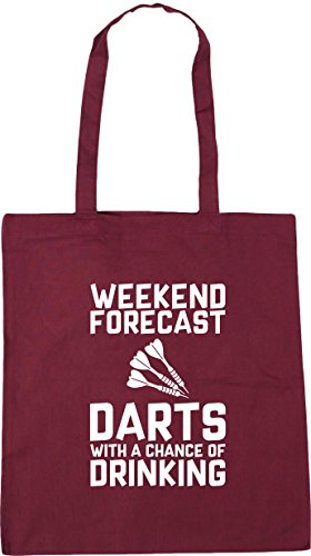 Beach a Forecast x38cm Burgundy Weekend Shopping Chance with Darts HippoWarehouse Tote litres Bag 10 of 42cm Gym Drinking IpPCwq5